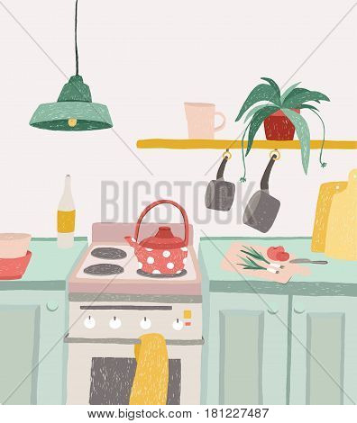 Hand drawn home cooking in cartoon style. Colorful doodle kitchen interior with kitchenware, kettle, oven, stove, utensils. Vector illustration