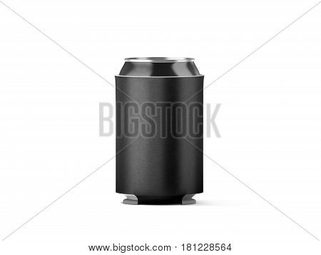 Blank black collapsible beer can holder mockup isolated 3d rendering. Plain drink ware hugger design template.