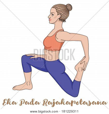 Women silhouette. One-Legged King Pigeon Yoga Pose. Eka Pada Rajakapotasana Vector illustration