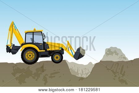 Yellow big digger builds roads excavating of hole, ground works Construction machinery. Illustration for internet banner poster or icon. Flatten isolated illustration master vector.