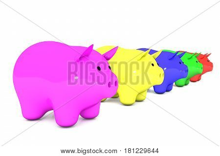 3d illustration: line of color piggy bank on a white isolated background. range from smallest to largest. five money box for coins in a row. pink, yellow, blue, green, red.