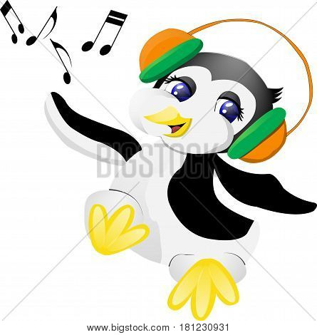 penguin with headphones listening to a funny song
