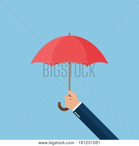 Hand with umbrella on blue background vector concept. Rain illustration in modern flat style. Color picture for design web site, web banner, printed material. Umbrella icon.