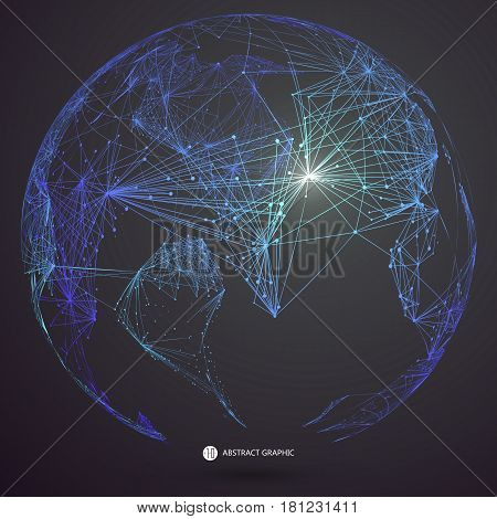World map point line composition representing the global Global network connection,international meaning.