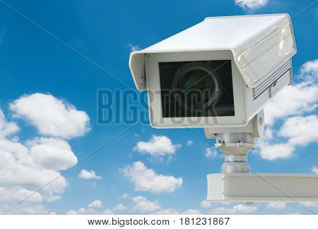 Cctv Camera Or Security Camera On Blue Sky Background