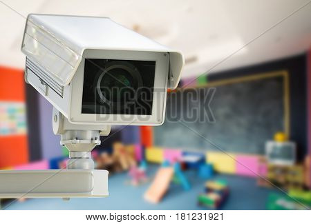 3d rendering cctv camera or security camera on kids room background