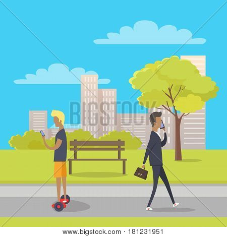 Stroll in city park concept. Businessman with briefcase and teenager on gyroscooter using mobile phone flat vector. Urban infrastructure for people recreation. Gadgets using and telephone addiction