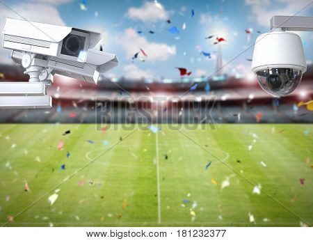 Cctv Camera Or Security Camera On Stadium Background