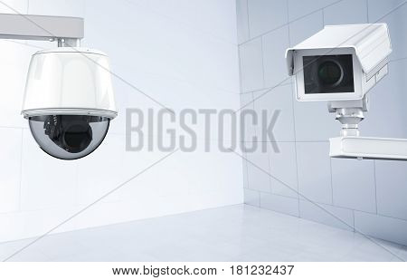 Cctv Camera Or Security Camera On Indoor Background