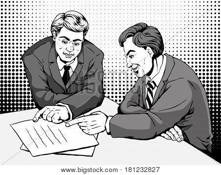 Comic Two Men Discussing