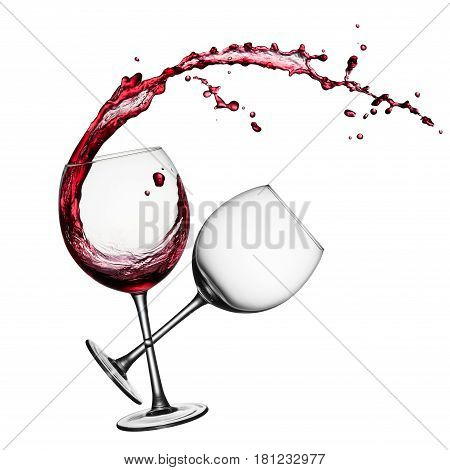 glass of splashing red wine and an empty glass