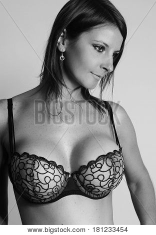 Black and white photography - Busty lady with a large breasts