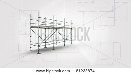 Digital composite of soft grey background whit blueprint and 3D scaffolding