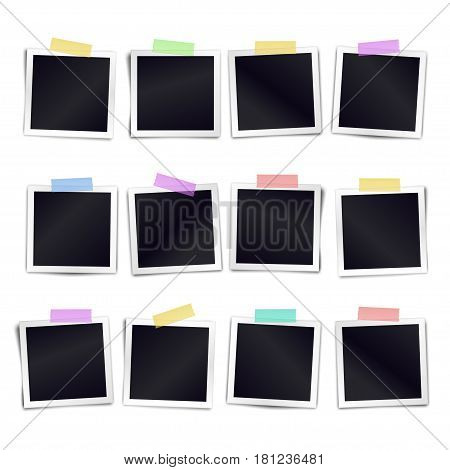 Collection of twelve blank photo frames sticked on color duct tape to white background. Template for design calender. Vector illustration