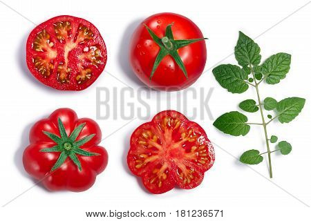 Round And Ribbed Tomatoes, Leaf, Top View, Paths