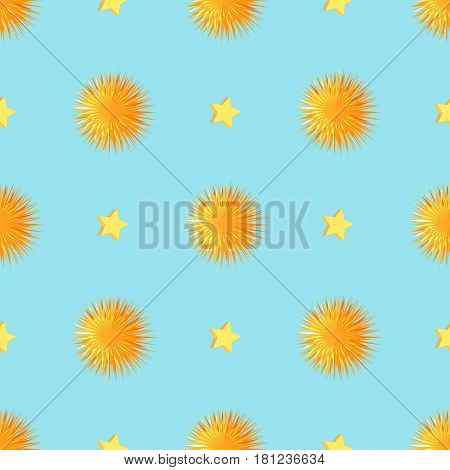 Starry seamless pattern with orange sea urchins. Yellow fluffy pompons and five-pointed stars vector illustrations on blue background for wrapping paper, greeting cards or invitations, print design