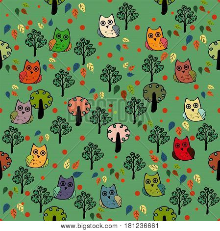 Owls forest vector seamless pattern. Vector owl. Animals and bird owl. Forest nature