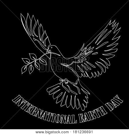 International day of Peace illustration. Dove of Peace on black background. Vector illustration.
