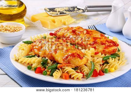 Fusilli Pasta And Baked Chicken Breasts