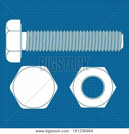 Bolt screw icon. White outline drawing on blueprint background. Vector illustration