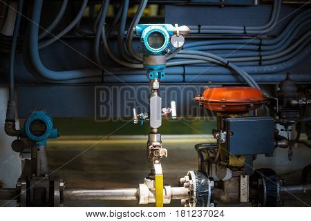 Pressure transmitter in oil and gas industry for monitored process digital display of electronic equipment Controller equipment.