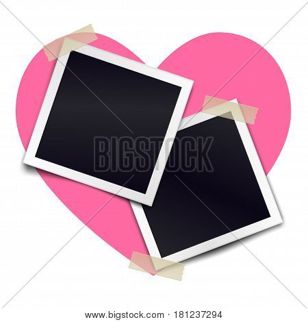 Two retro photorealistic photo frame sticked on duct tape to heart background. Template for design. Vector illustration