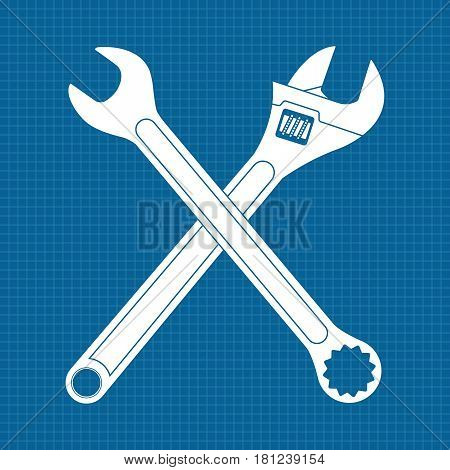 Adjustable wrench and combo wrench. Crossed icons. Vector illustration on blueprint background