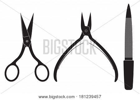 Manicure set. Scissors, nippers, file. Vector illustration isolated on white background