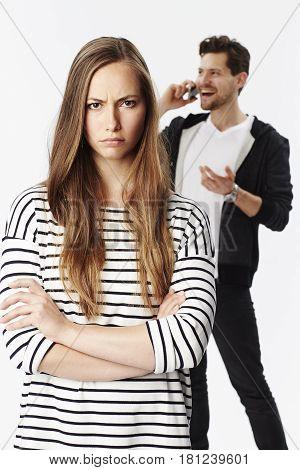 Communication breakdown between couple portrait studio shot