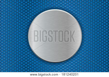Metal round plate on blue perforated background. Vector 3d illustration