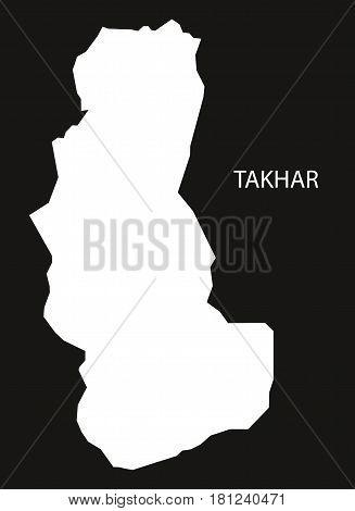 Takhar Afghanistan Map Black Inverted Silhouette Illustration