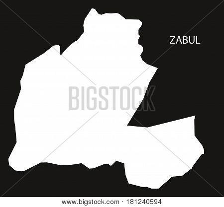 Zabul Afghanistan Map Black Inverted Silhouette Illustration