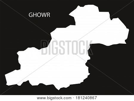 Ghowr Afghanistan Map Black Inverted Silhouette Illustration