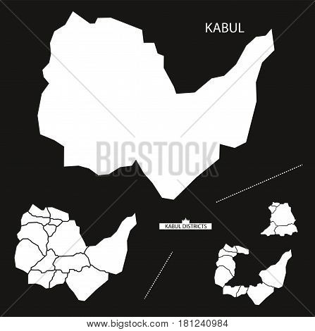 Kabul With Districts Afghanistan Map Black Inverted Silhouette Illustration