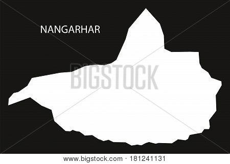 Nangarhar Afghanistan Map Black Inverted Silhouette Illustration
