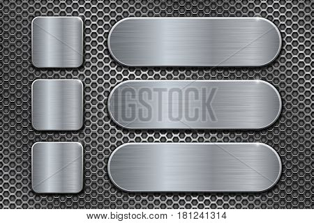 Oval and square brushed metal plates on perforated background. Vector 3d illustration