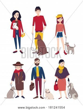 People walking with his dogs of different breeds. Colorful flat illustration