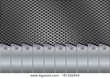 Metal background with rivets and perforation. Vector 3d illustration