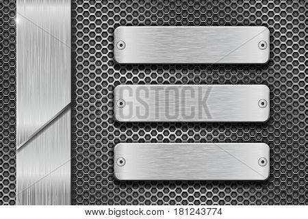 Metal perforated background with steel brushed plates. Vector 3d illustration