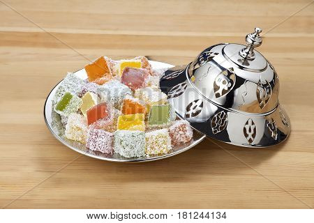turkish delight plate on the  wooden table