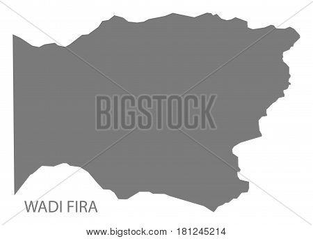 Wadi Fira Chad Region Map Grey Illustration Silhouette