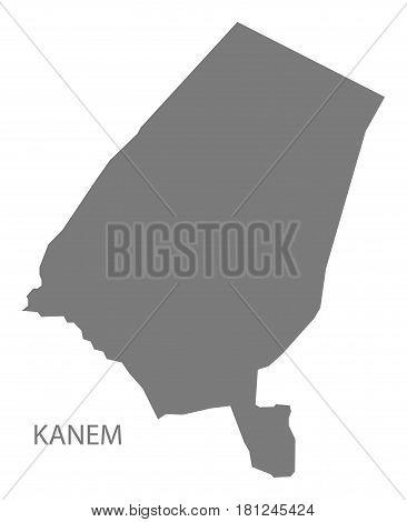 Kanem Chad Region Map Grey Illustration Silhouette