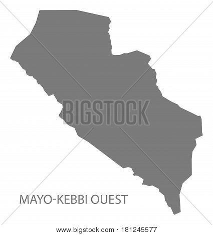 Mayo-kebbi Ouest Chad Region Map Grey Illustration Silhouette