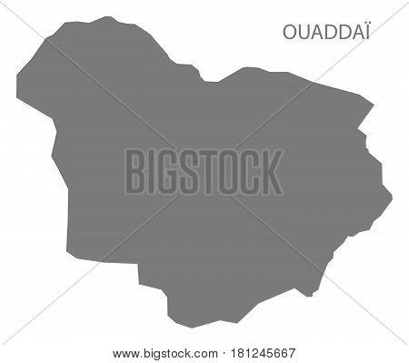 Ouaddai Chad Region Map Grey Illustration Silhouette