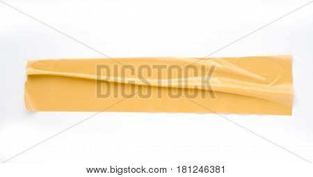 Brown sticky tape on a white background.