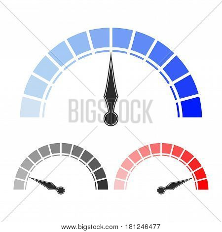 Measuring scale. Colored set of semi-circle blank scales. Vector illustration