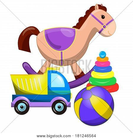toys collection isolated on white background. Pile of toys isolated on white. vector illustration cartoon clipart. set of different cartoon vector toys. Cute toy horse pyramid ball car