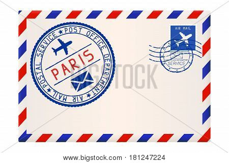 International air mail envelope from PARIS. With round blue postal stamp. Vector illustration isolated on white background