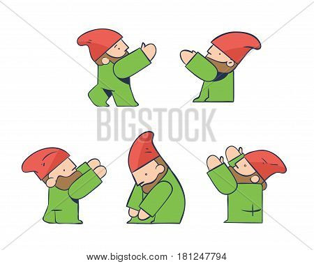 Construction Worker Architect Gnome Icons in 5 Various Poses Collaborating on Project with Teamwork - Objects Isolated on White Background