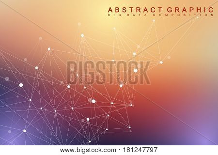 Geometric graphic background molecule and communication. Big data complex with compounds. Minimalist vector backdrop. Digital data visualization. Scientific cybernetic illustration